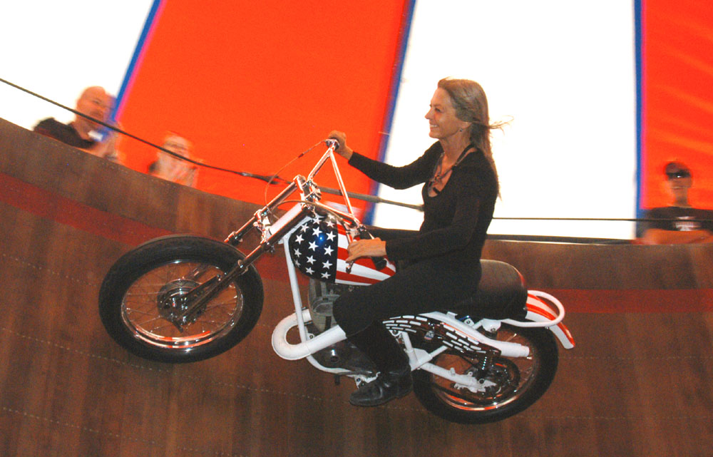 Samantha on Wall of Death at Sturgis 2004